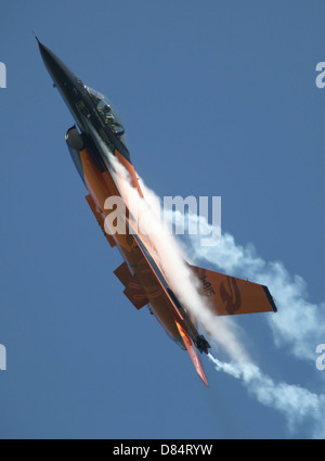 Dutch Air Force F-16A during a turning and burning demonstration in Belgium. - Stock Photo