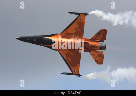 Dutch Air Force F-16A during a flight demonstration in The Netherlands.. - Stock Photo