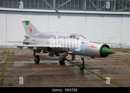 A preserved MiG-21SMT at the former Russian 16th Air Army base, Altenburg Airfield, Germany. - Stock Photo