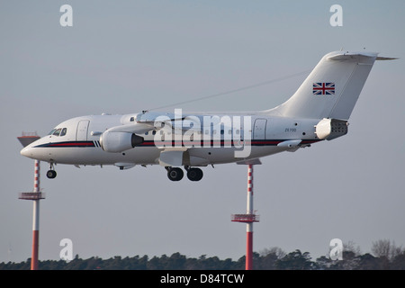 A British Aerospace 146 jet of the Royal Air Force transporting VIP's, Ramstein Air Base, Germany. - Stock Photo