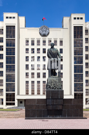 Parliament building on the Independence square in Minsk. Belarus - Stock Photo