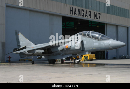 An AV-8B Harrier II of the Spanish Navy parked in front of the hangar bay at Naval Station Rota, Spain. - Stock Photo