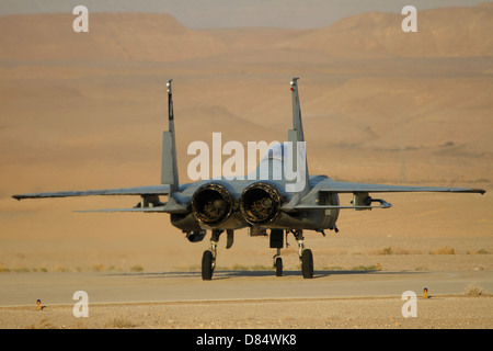 An F-15C Baz of the Israeli Air Force taxiing at Ovda Airbase. - Stock Photo
