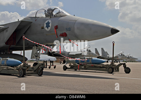 An F-15C Baz of the Israeli Air Force on display at Tel Nof Air Force Base, Israel. - Stock Photo
