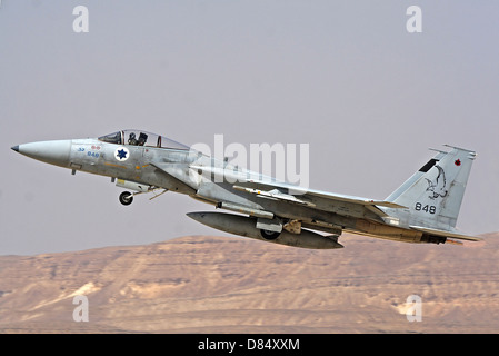 An F-15C Baz of the Israeli Air Force takes off from Ovda Air Force Base, Israel. Note the 2 kill marks on its nose. - Stock Photo