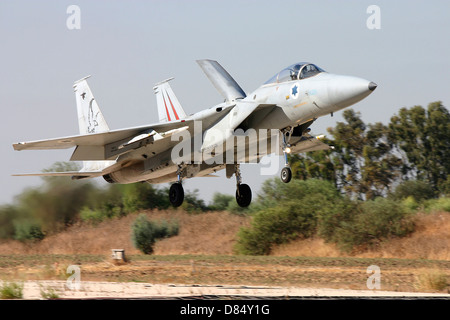 An F-15C Baz of the Israeli Air Force on final approach to Tel-Nof Air Force Base, Israel. - Stock Photo