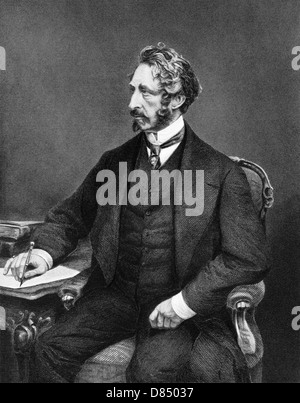 Edward Bulwer-Lytton, 1st Baron Lytton (1803-1873) on engraving from 1873. English novelist, poet, playwright and - Stock Photo
