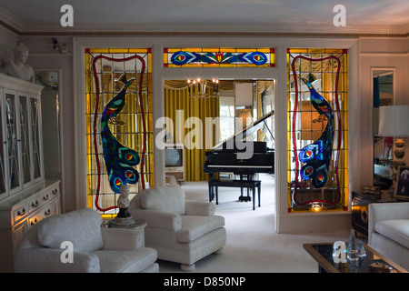 A view of the Living Room in Elvis Presley's mansion Graceland in Memphis, Tennessee - Stock Photo