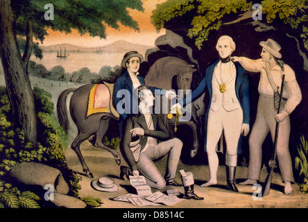 The Capture of Major John Andre by John Paulding, David Williams and Isaac Van Wart, at Tarrytown, N.Y., Sept. 23rd, - Stock Photo