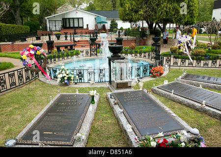 A view of the grave of Elvis Presley and his family members at Graceland in Memphis, Tennessee