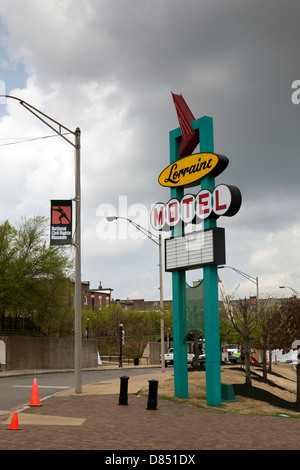 A view of the Lorraine Motel sign at he National Civil Rights Museum in Memphis, Tennessee