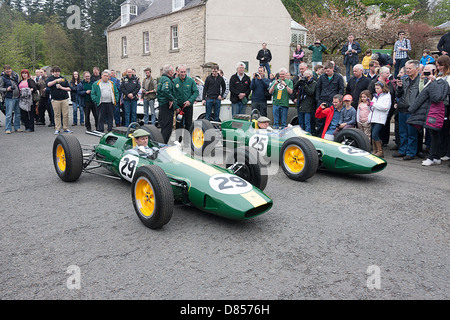 Two Lotus cars. The no25 car which Jim raced to victory in eight F1 grand prix. Duns Berwickshire. Scottish Borders - Stock Photo
