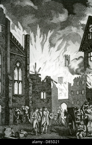 GREAT FIRE OF LONDON September 1666 in an 18th century engraving - Stock Photo