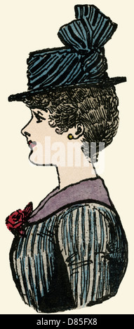 Profile Of A Victorian Woman Wearing Hat 1884 - Stock Photo