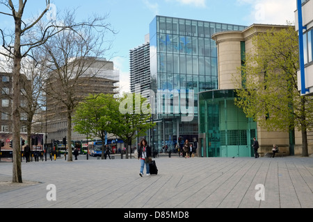 The Laing Art Gallery with Newcastle's city centre library in the distance. - Stock Photo