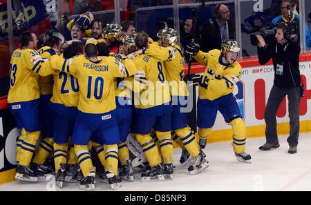 Stockholm, Sweden. 19th May 2013. IIHF World Championships, Ice Hockey, Czech Republic, final match Sweden vs. Switzerland, - Stock Photo