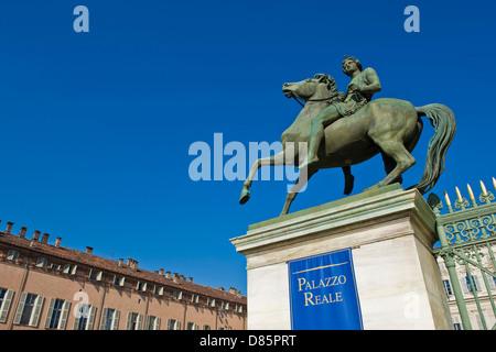 Italy Piedmont Turin Royal Palace Dioscuri statue - Stock Photo