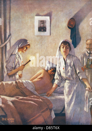 French Nurses With Wounded Soldier Wwi - Stock Photo