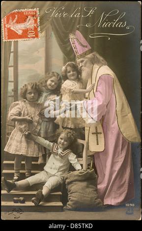 Saint Nicholas Giving Christmas Presents To Children - Stock Photo
