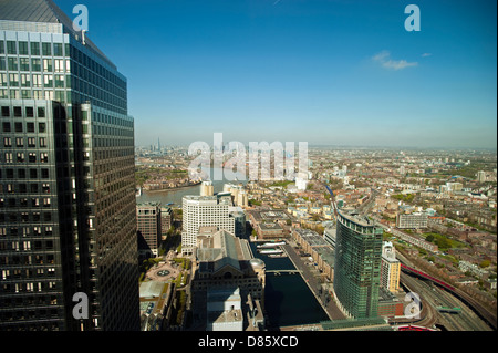 Aerial view of Canary Wharf from HSBC Building London England - Stock Photo