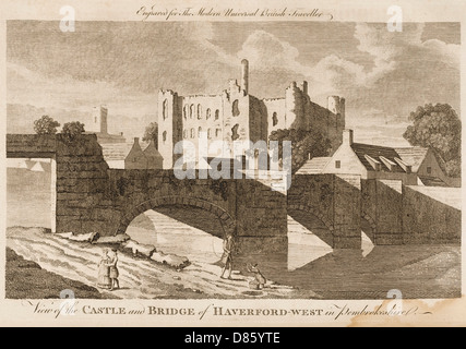 Castle And Bridge  Haverford West  Wales - Stock Photo