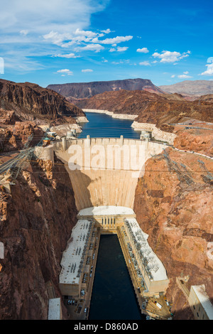 This is an image of the Hoover Dam, taken from the Mike O'Callaghan–Pat Tillman Memorial Bridge - Stock Photo