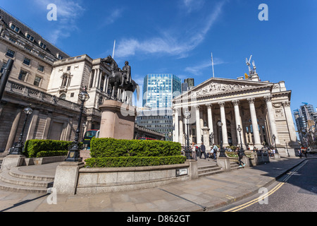 The Royal Exchange Building and Duke Wellington equestrian statue, London, England, UK. - Stock Photo