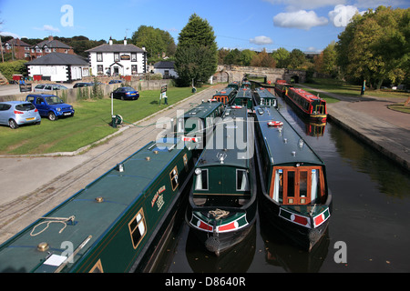 Anglo Welsh hire boat company narrowboats moored in Trevor basin on the Llangollen Canal - Stock Photo