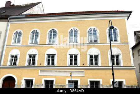 Birth Place of Adolf Hitler at Braunau am Inn, where a memorial stone against war and fascism as been built - Stock Photo