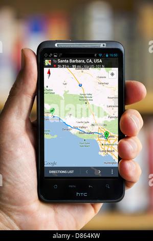 Google Maps on an HTC Smartphone, USA - Stock Photo