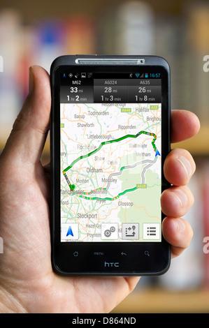 Google Navigation on an HTC smartphone, UK - Stock Photo
