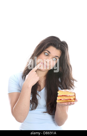 Model Released. Young Woman Holding Cake - Stock Photo