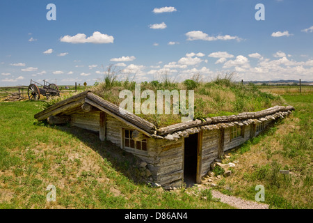 Sod house at Museum of the Fur Trade, Chadron, Nebraska, USA - Stock Photo