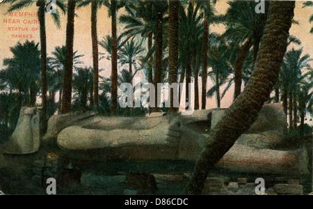 Fallen Statue Of Rameses Ii  Memphis  Egypt - Stock Photo