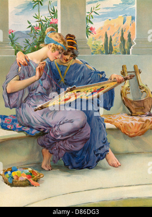 Two Ancient Greek Women Embroidering - Stock Photo