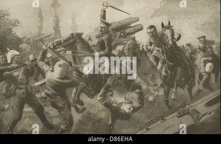 Charge Of Ninth Lancers During Great Retreat From Mons - Stock Photo
