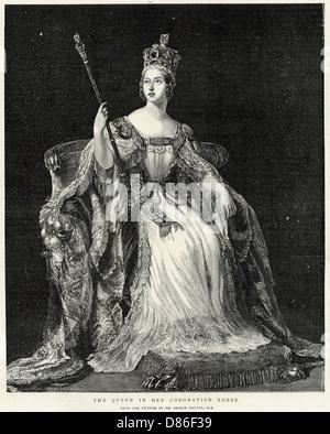 Queen Victoria In Her Coronation Robes - Stock Photo