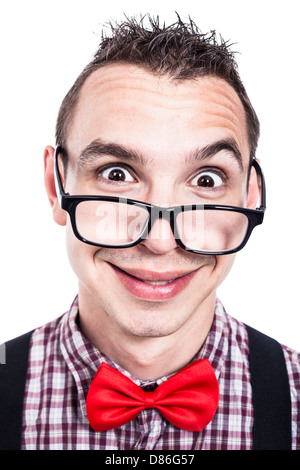 Silly nerd man making funny face, isolated on white background - Stock Photo