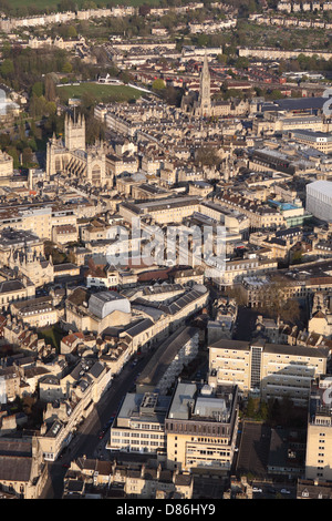 Bath city Somerset England aerial view of city centre with Bath Abbey to left - Stock Photo