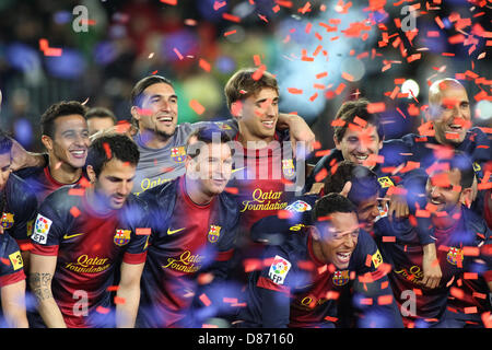 19.05.2013 Barcelona, Spain. Barcelona's players during the celebration of the league championship 2012/13 at the - Stock Photo