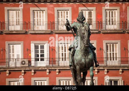 bronze statue of King Philip III at the center of the square Plaza Mayor, Madrid, Spain, Europe - Stock Photo