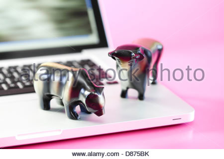 Close-up of statues of bull and bear on a laptop - Stock Photo
