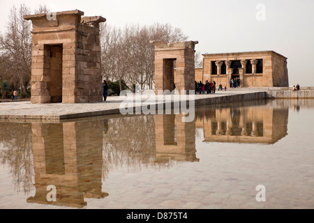 egyptian temple Templo de Debod in Madrid, Spain, Europe - Stock Photo