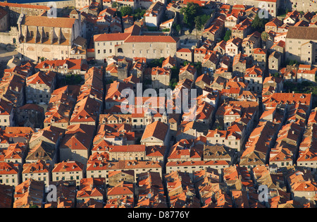 DUBROVNIK, CROATIA. An elevated view of rooftops in the medieval walled town. 2010. - Stock Photo