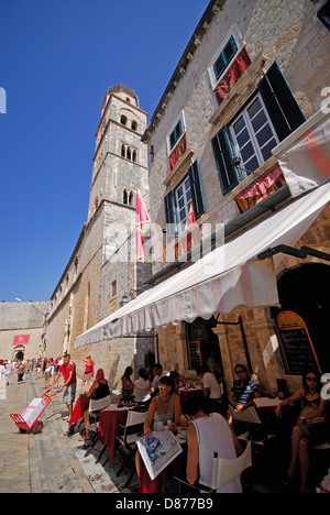 DUBROVNIK, CROATIA. A cafe on Stradun (Placa), the main thoroughfare in the medieval walled town. 2010. - Stock Photo