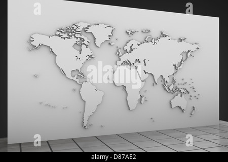 World map illustration on the wall - Stock Photo