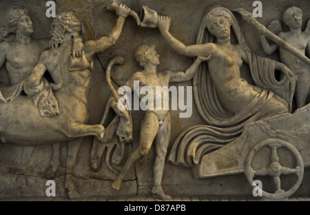Roman sarcophagus. About 140 AD. Marriage of Dionysus and Adriadne. Detail Adriane in the carriage. Glyptothek. - Stock Photo