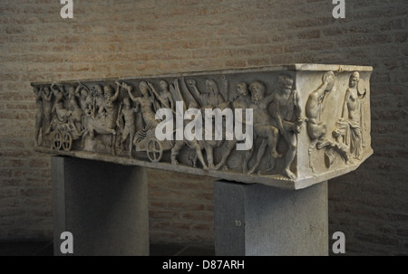 Roman sarcophagus. About 140 AD. Marriage of Dionysus and Adriadne. Glyptothek. Munich. Germany. - Stock Photo