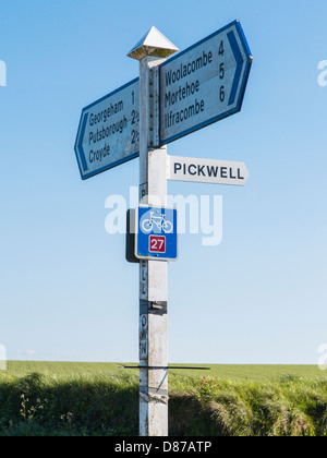 National Cycle Network Route 27 and signpost near Woolacombe in Devon, England - Stock Photo