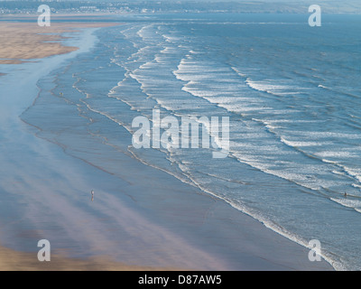 Saunton Sands beach in North Devon aerial view, Devon, England - Stock Photo